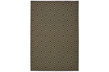 94X130 Outdoor Rug-Black/Tan Diamonds