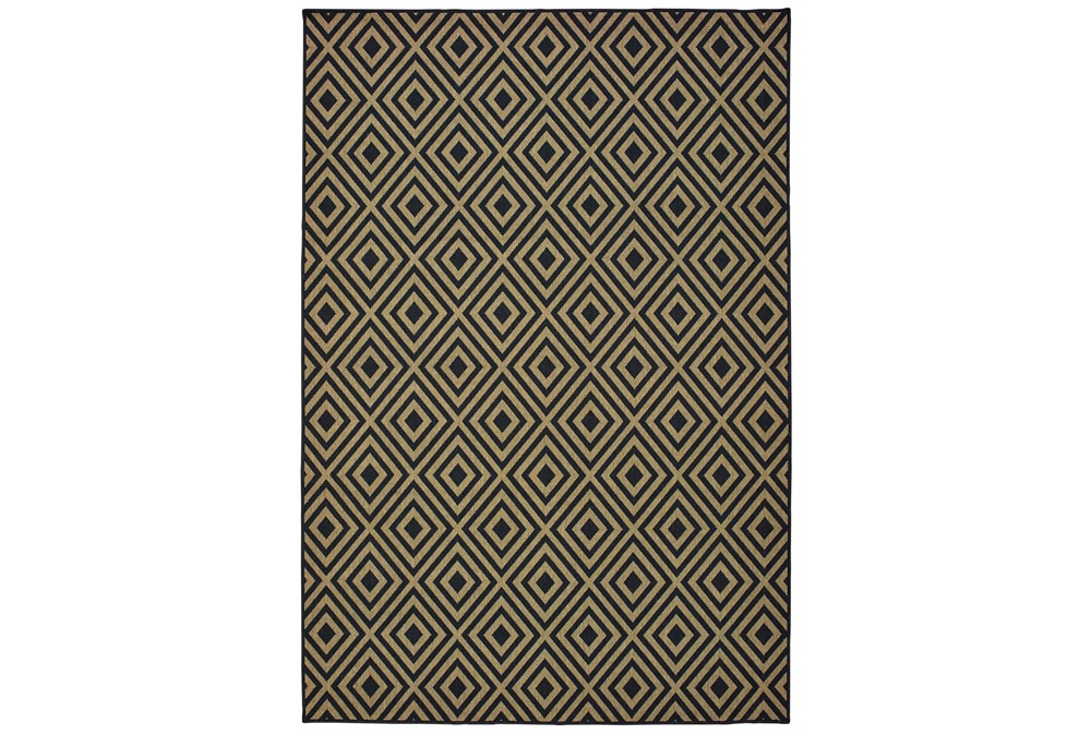 102X158 Outdoor Rug-Black/Tan Diamonds