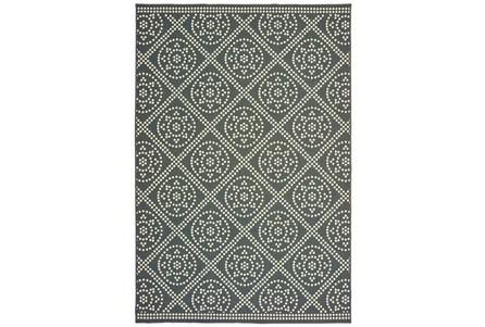 21X45 Outdoor Rug-Grey/Ivory Diamond Dots