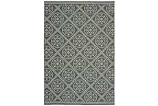 27X90 Outdoor Rug-Grey/Ivory Diamond Dots