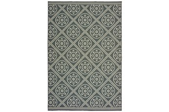 43X66 Outdoor Rug-Grey/Ivory Diamond Dots
