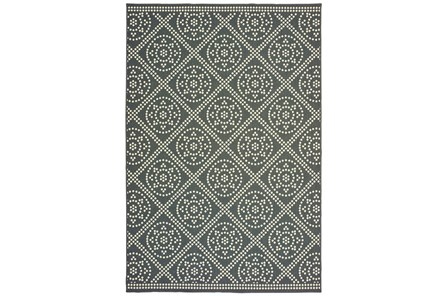 79X114 Outdoor Rug-Grey/Ivory Diamond Dots