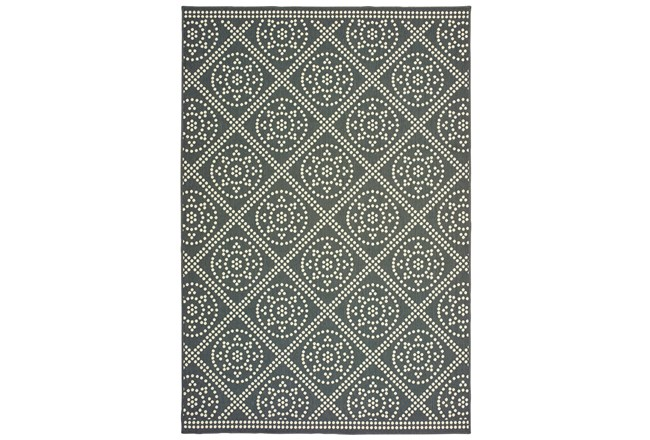 94X130 Outdoor Rug-Grey/Ivory Diamond Dots - 360