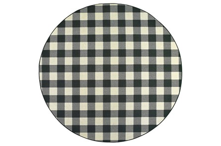 94 Inch Round Outdoor Rug-Black/Ivory Check
