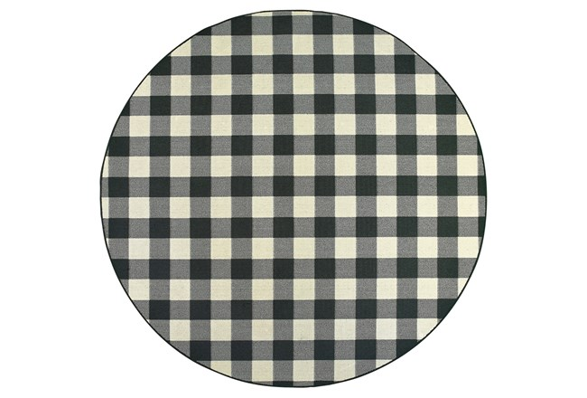 94 Inch Round Outdoor Rug-Black/Ivory Check - 360