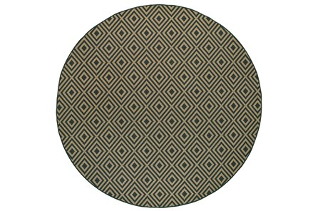 94 Inch Round Outdoor Rug-Black/Tan Diamonds
