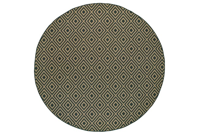94 Inch Round Outdoor Rug-Black/Tan Diamonds - 360