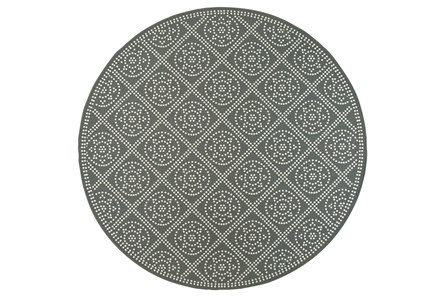 94 Inch Round Outdoor Rug-Grey/Ivory Diamond Dots