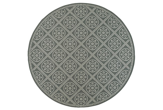 94 Inch Round Outdoor Rug-Grey/Ivory Diamond Dots - 360