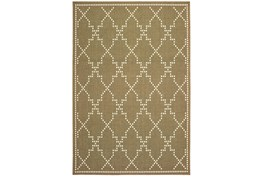 27X90 Outdoor Rug-Gold/Ivory Geometric