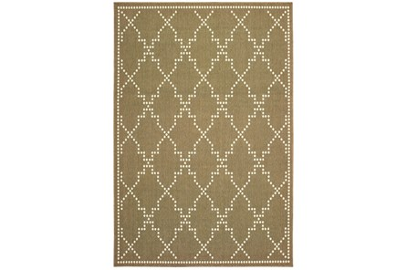 63X90 Outdoor Rug-Gold/Ivory Geometric