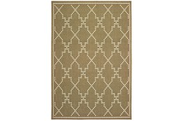 79X114 Outdoor Rug-Gold/Ivory Geometric