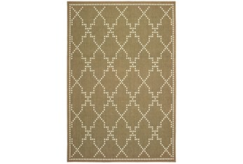 """6'6""""x9'5"""" Outdoor Rug-Gold/Ivory Geometric"""