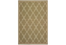 102X158 Outdoor Rug-Gold/Ivory Geometric