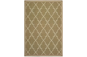 """8'5""""x13'1"""" Outdoor Rug-Gold/Ivory Geometric"""