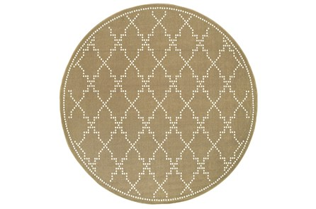 94 Inch Round Outdoor Rug-Gold/Ivory Geometric