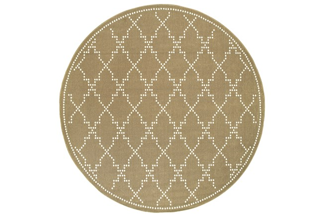 94 Inch Round Outdoor Rug-Gold/Ivory Geometric - 360