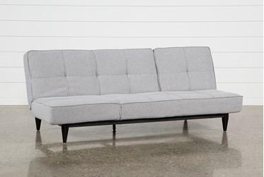 "Paige Grey 85"" Convertible Sofa Chaise Sleeper"