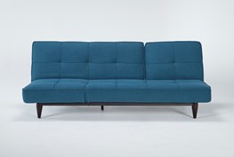 Paige Blue Convertible Sofa Chaise Sleeper