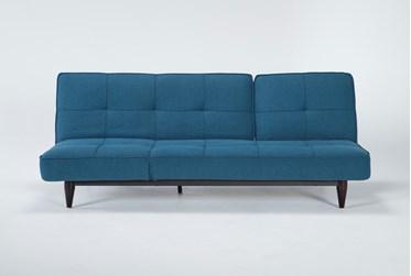 "Paige Blue 85"" Convertible Sofa Chaise Sleeper"