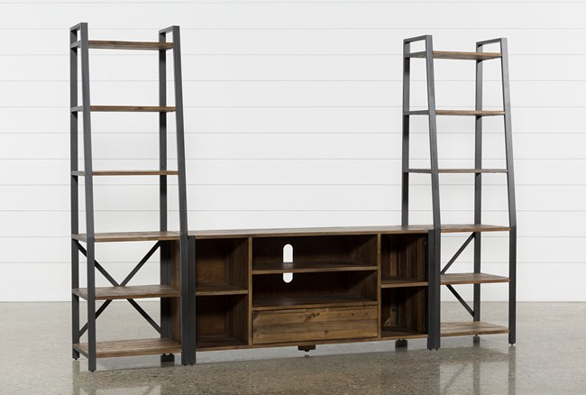 Marvin Rustic Natural 3 Piece Entertainment Center - 360