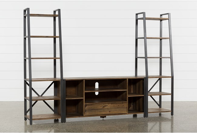 "Marvin Rustic Natural 104"" 3 Piece Entertainment Center - 360"