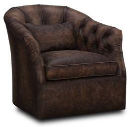 Chocolate Brown Leather Swivel Chair