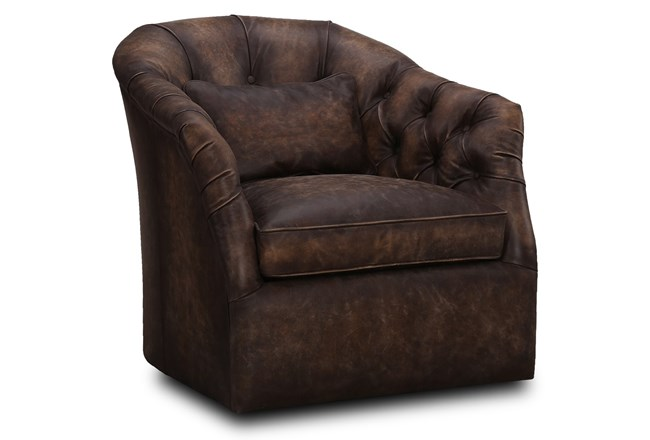 Chocolate Brown Leather Swivel Chair - 360