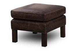 Chocolate Brown Top Grain Leather Ottoman