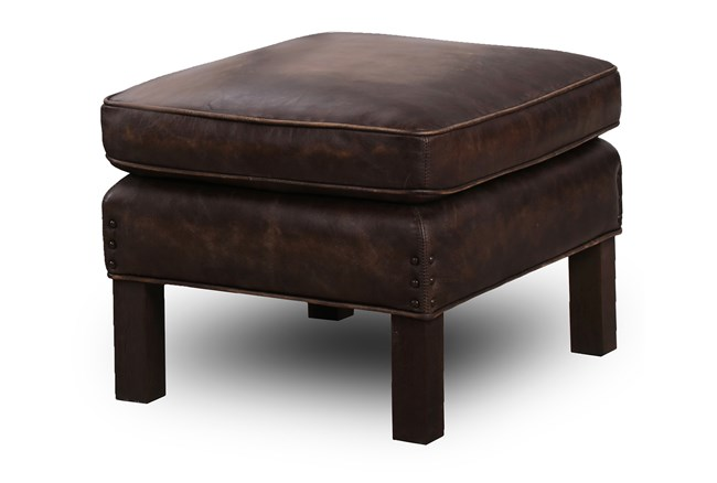 Chocolate Brown Top Grain Leather Ottoman - 360