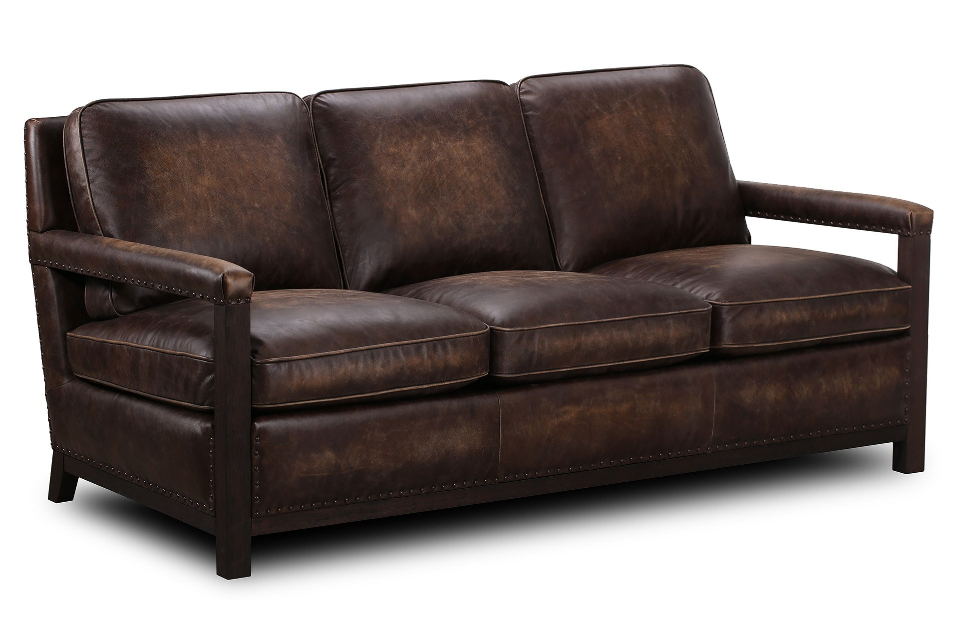 Chocolate brown top grain leather sofa qty 1 has been successfully added to your cart