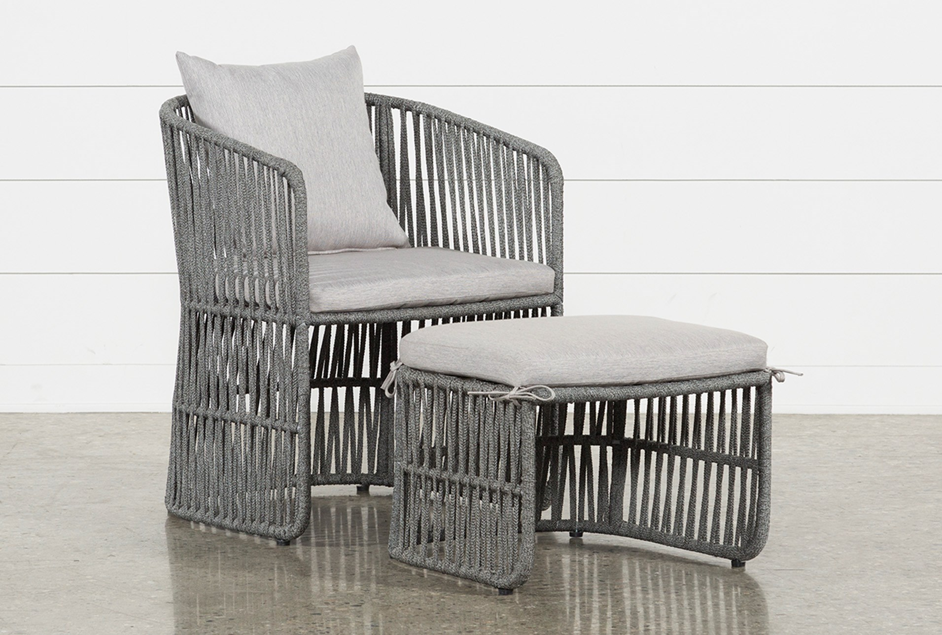 Outdoor nautical grey rope lounge chair and ottoman qty 1 has been successfully added to your cart