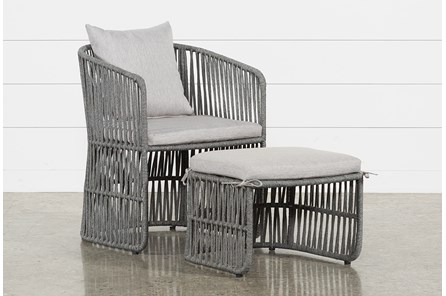 Outdoor Nautical Grey Rope Lounge Chair And Ottoman