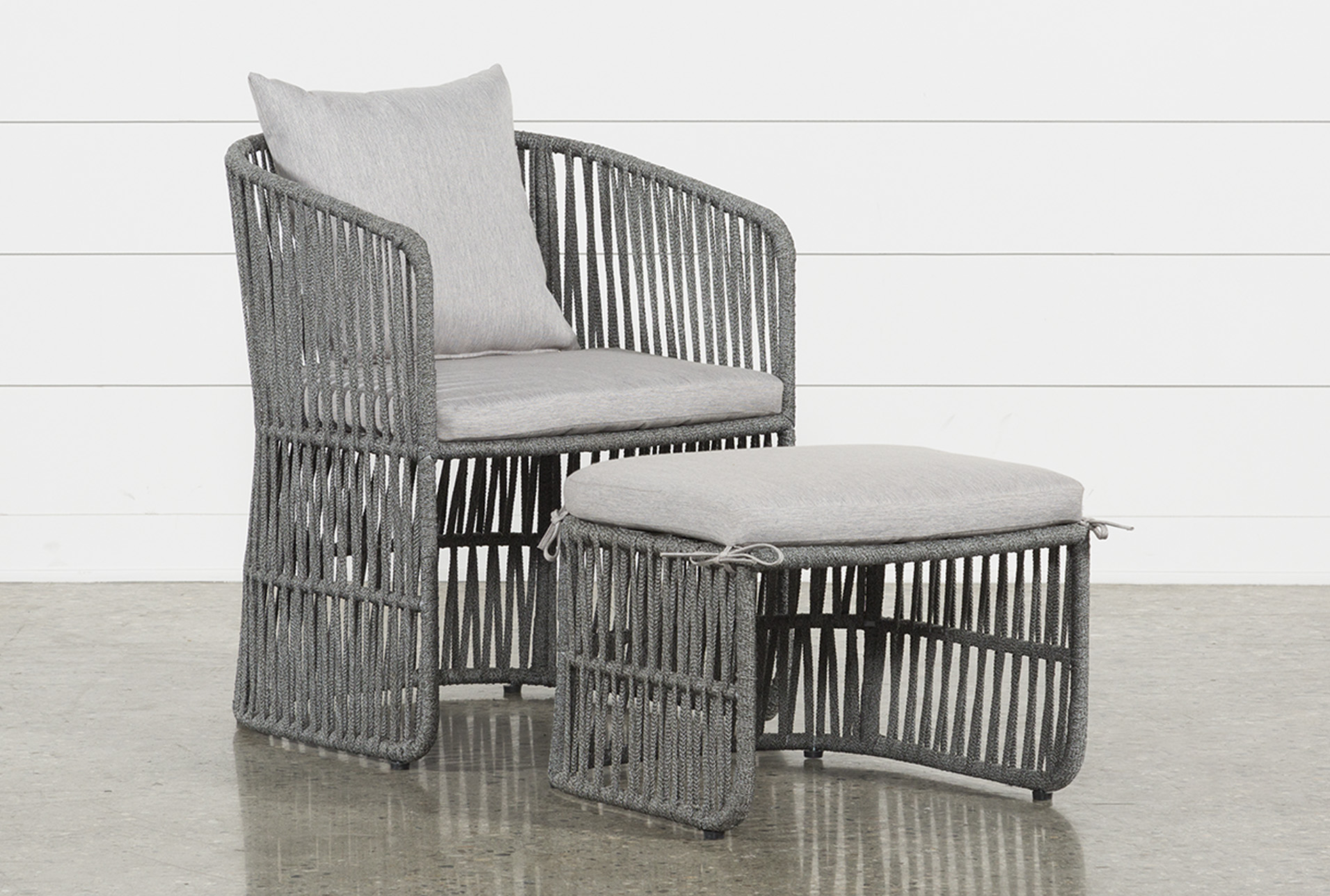 Outdoor Nautical Grey Rope Lounge Chair And Ottoman (Qty: 1) Has Been  Successfully Added To Your Cart.