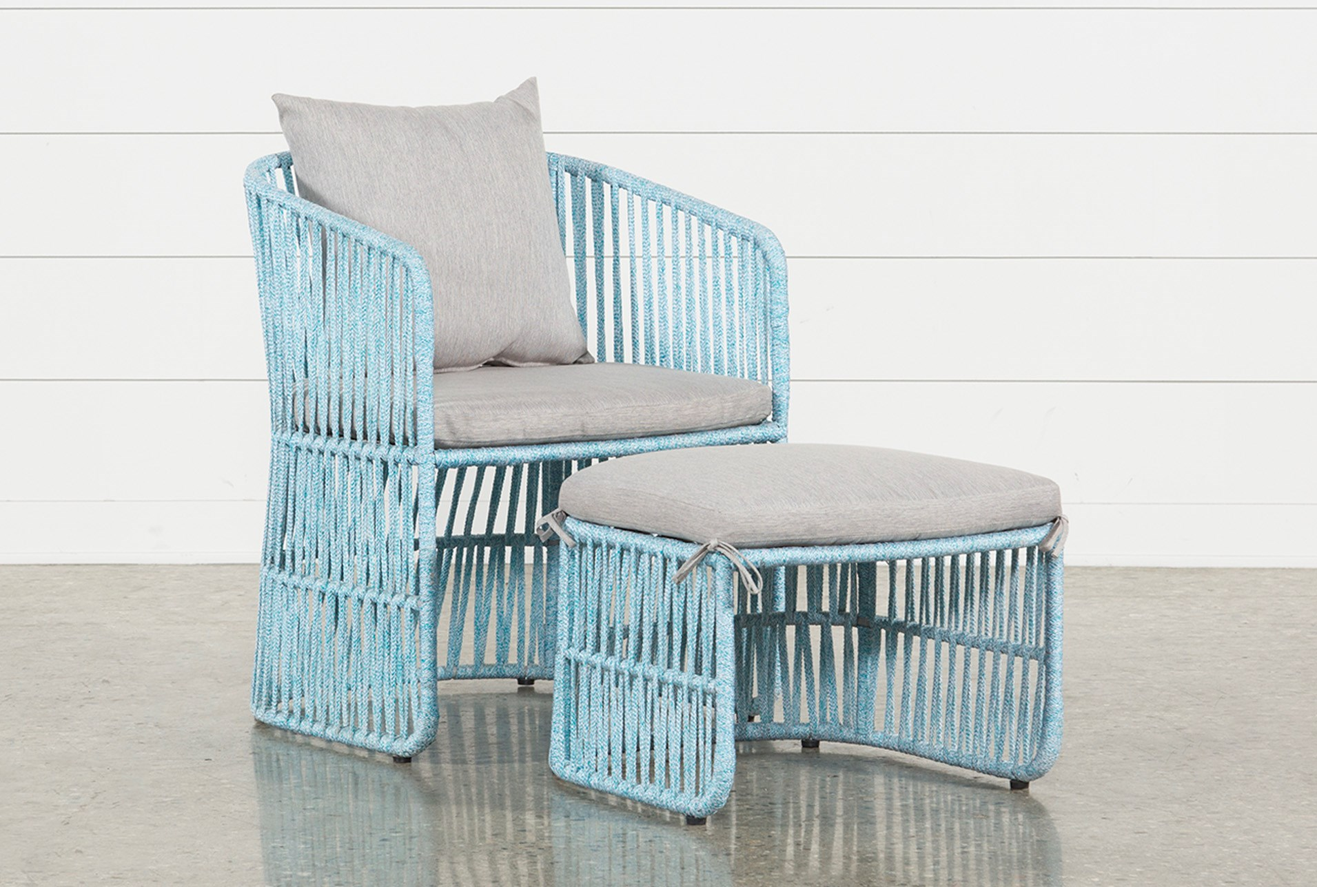 Outdoor Nautical Teal Rope Lounge Chair And Ottoman Qty 1 Has Been Successfully Added To Your Cart