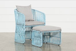 Outdoor Nautical Teal Rope Lounge Chair And Ottoman