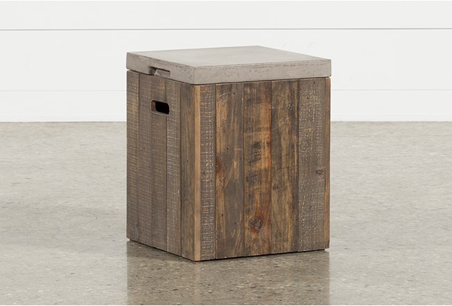 Outdoor Poipu Concrete & Wood Square Accent Table - 360