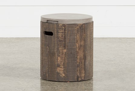 Outdoor Poipu Concrete & Wood Round Accent Table