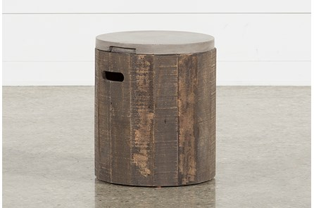 Outdoor Poipu Concrete & Wood Round Accent Table - Main