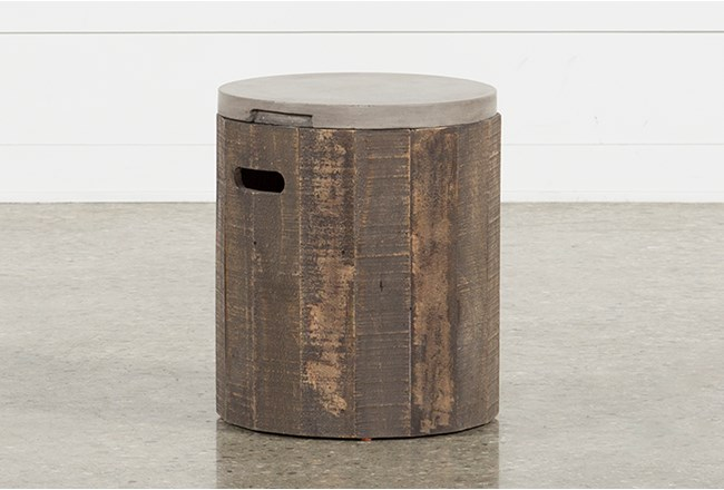 Outdoor Poipu Concrete & Wood Round Accent Table - 360