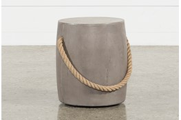 Outdoor Poipu Concrete & Rope Round Accent Table