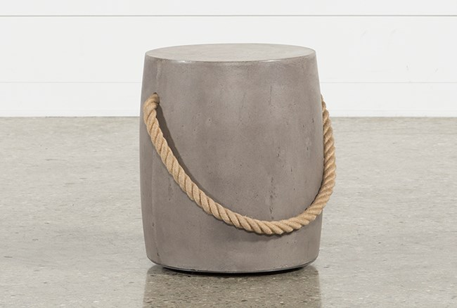 Outdoor Poipu Concrete & Rope Round Accent Table - 360