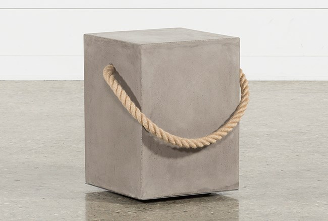 Outdoor Poipu Concrete & Rope  Square Accent Table - 360