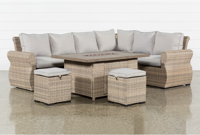 Malta Outdoor Firepit Banquette Lounge With 2 Ottomans - 360
