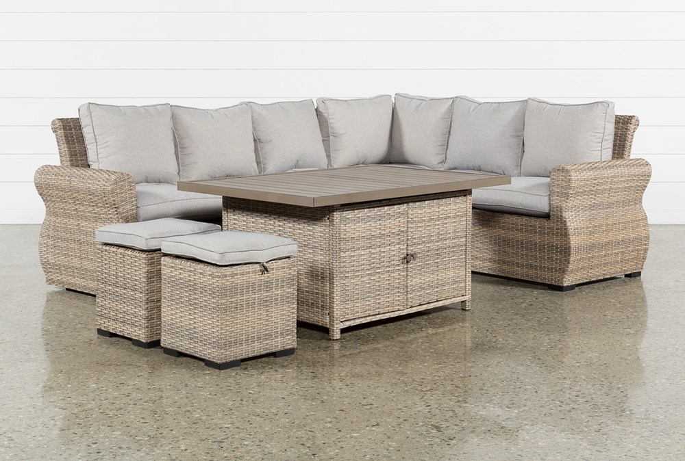 Malta Outdoor Storage Banquette Lounge With 2 Ottomans