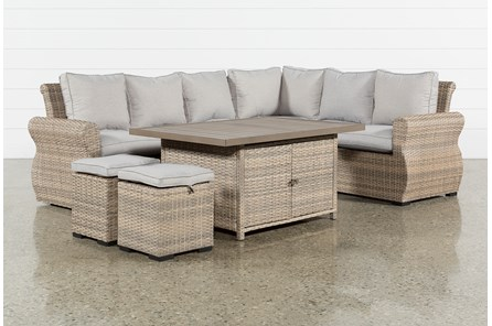 Outdoor Malta Storage Banquette Lounge With 2 Ottomans - Main