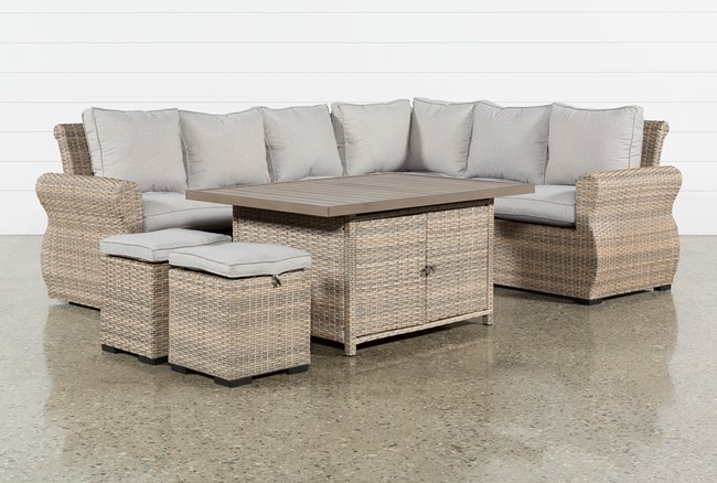 Outdoor Malta Storage Banquette Lounge With 2 Ottomans - 360