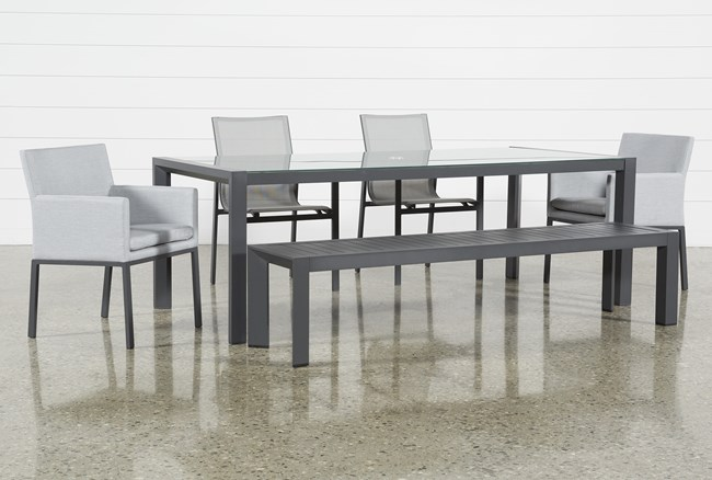 Ravelo Outdoor 6 Piece Dining Set With Sling And Upholstered Chairs - 360