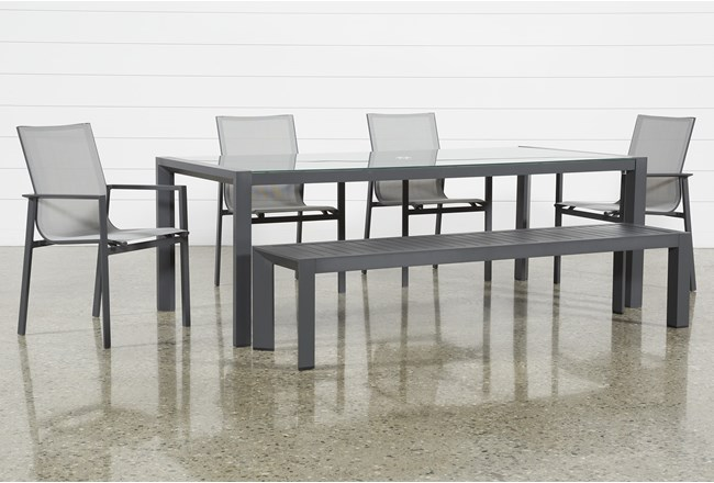 Ravelo Outdoor 6 Piece Dining Set With Sling Side Chairs - 360