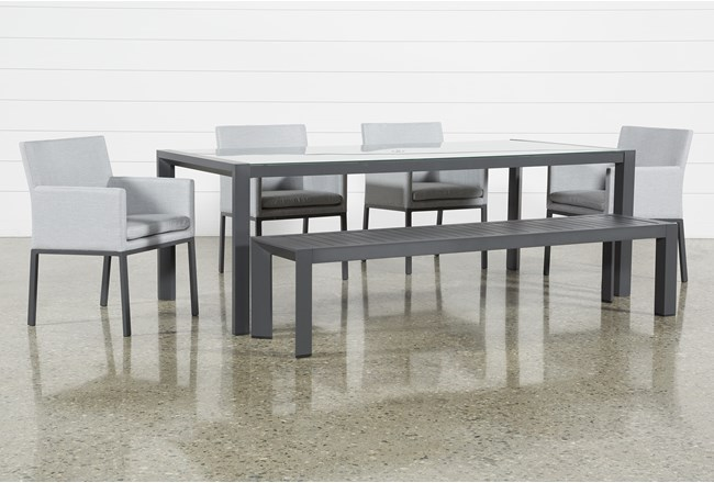 Ravelo Outdoor 6 Piece Dining Set With Upholstered Chairs - 360
